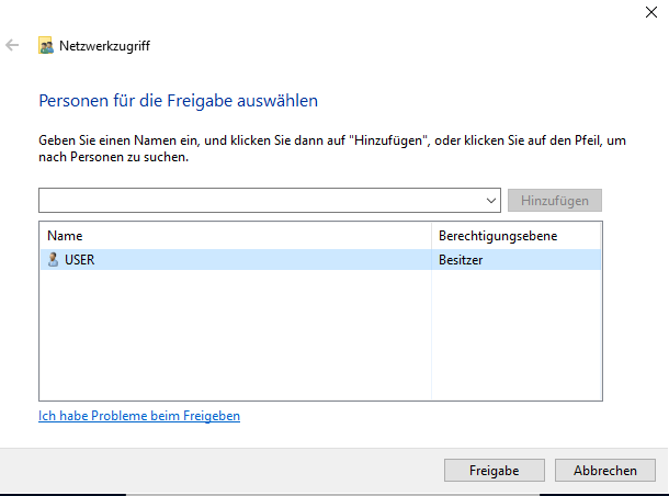 windows freigabe person 1
